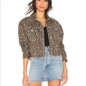 Free People Women's Cheetah Printed Denim Jacket